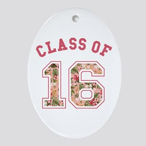Class of 16 Floral Pink Oval Ornament