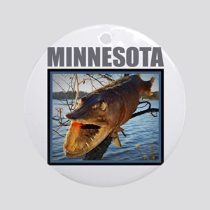 Minnesota - Fish in Tree Round Ornament