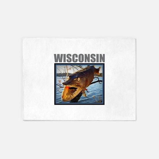 Wisconsin - Fish in Tree 5'x7'Area Rug