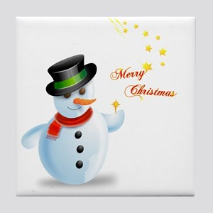 Playful Snowman With Star Tile Coaster
