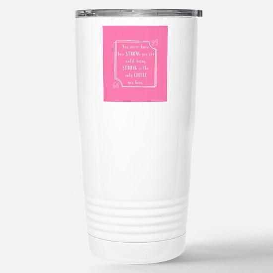 pink and white inspirat Stainless Steel Travel Mug
