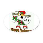 Whoa, whoa, Merry Christmas emoji Oval Car Magnet