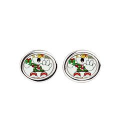 Whoa, whoa, Merry Christmas emoji Oval Cufflinks