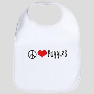 Peace Love and Puggles Bib