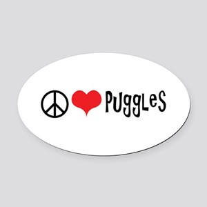 Peace Love and Puggles Oval Car Magnet