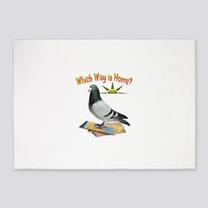 Which Way is Home? Fun Lost Pigeon 5'x7'Area Rug