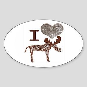 I heart Moose Sticker (Oval)