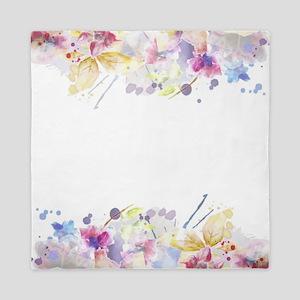 Floral Watercolor Queen Duvet