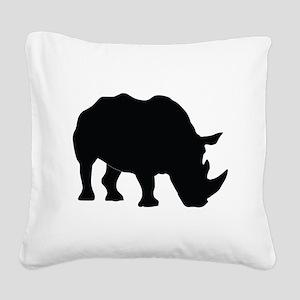 Rhino Silhouette Square Canvas Pillow
