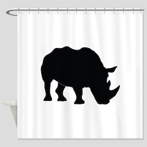 Rhino Silhouette Shower Curtain
