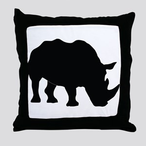 Rhino Silhouette Throw Pillow