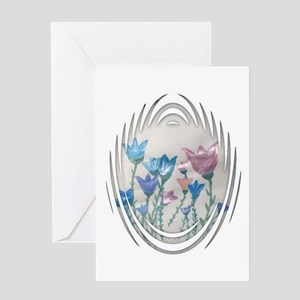 White Framed Tulips Greeting Card