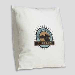 Kentucky Horsepower - BOURBON Burlap Throw Pillow
