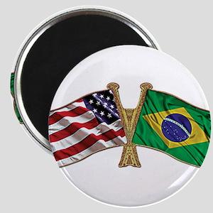 Brazil USA friendship flag Magnets