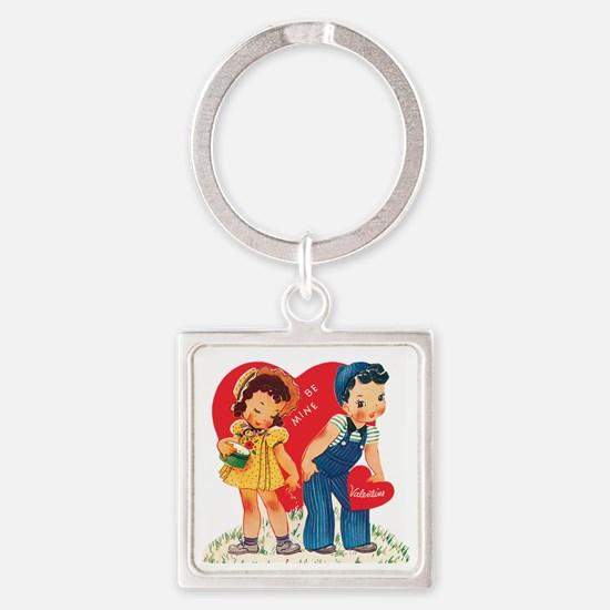Cute Children Square Keychain