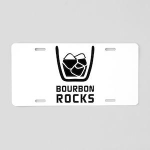 Bourbon Rocks Aluminum License Plate