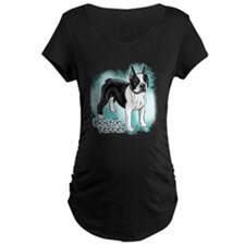 Boston Terrier on Blue Background Maternity T-Shir