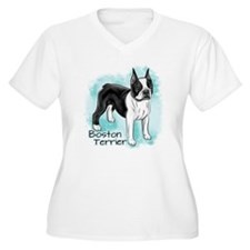 Boston Terrier on Blue Background Plus Size T-Shir