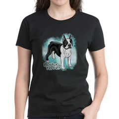 Boston Terrier on Blue Background T-Shirt