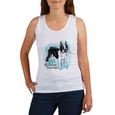 Boston Terrier on Blue Background Tank Top