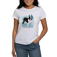 Boston Terrier on Blue Background T-Shirt