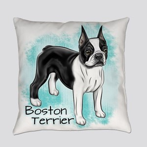 Boston Terrier On Blue Background Everyday Pillow
