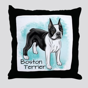 Boston Terrier on Blue Background Throw Pillow