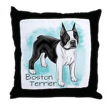Boston Terrier on Blue Background Throw Pillow
