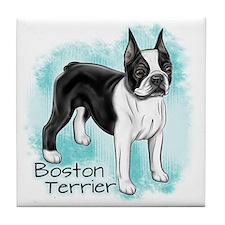 Boston Terrier On Blue Background Tile Coaster