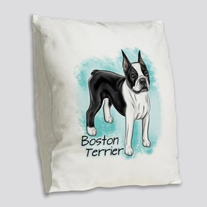 Boston Terrier on Blue Background Burlap Throw Pil