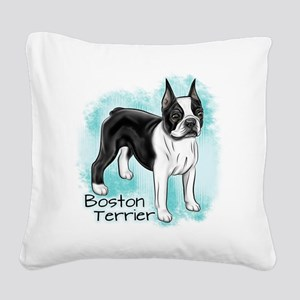 Boston Terrier on Blue Background Square Canvas Pi
