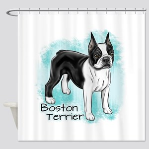 Boston Terrier on Blue Background Shower Curtain
