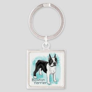 Boston Terrier On Blue Background Keychains