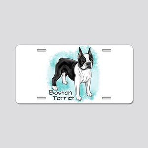 Boston Terrier on Blue Background Aluminum License