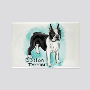 Boston Terrier On Blue Background Magnets