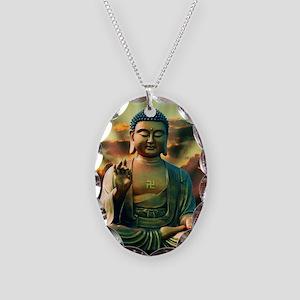 Buddha Sunrise Necklace Oval Charm