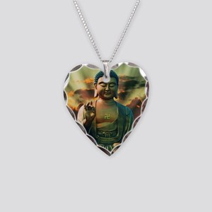 Buddha Sunrise Necklace Heart Charm