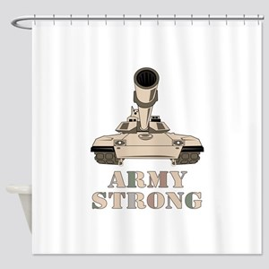 M-1 Tank Army Strong Shower Curtain