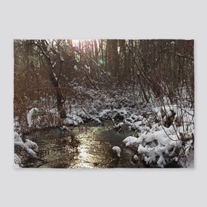 winter forest river 5'x7'Area Rug