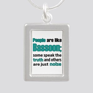 People are like Bassoon Silver Portrait Necklace