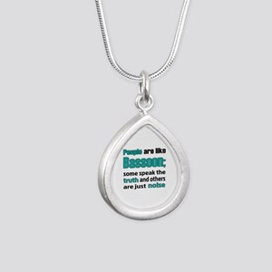 People are like Bassoon Silver Teardrop Necklace
