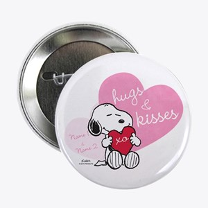 """Snoopy Hugs and Kisses - Personalized 2.25"""" Button"""