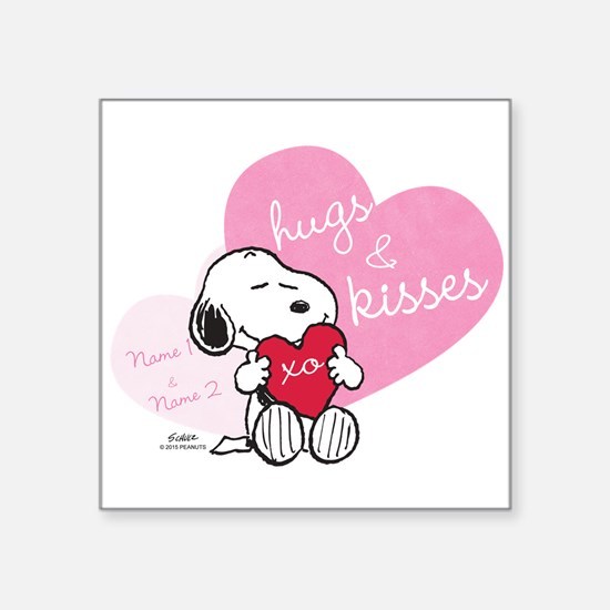 """Snoopy Hugs and Kisses - Pe Square Sticker 3"""" x 3"""""""