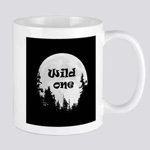 Wild One Fun Quote Moon and Trees Mugs