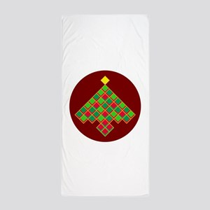 xmas quilt treesave nb gold red rnd Beach Towel