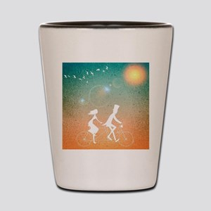 Bicycle Couple Shot Glass
