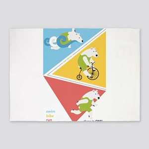 Triathlon Polar Bears Poster 5'x7'Area Rug