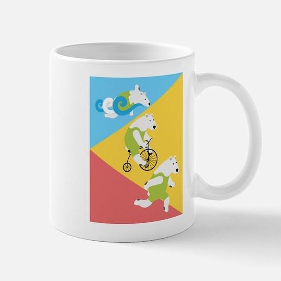 Polar Bear Triathletes Triangles Mugs