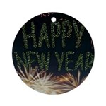 Happy New Year Round Ornament