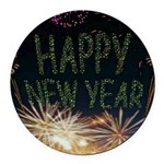 Happy New Year Round Car Magnet